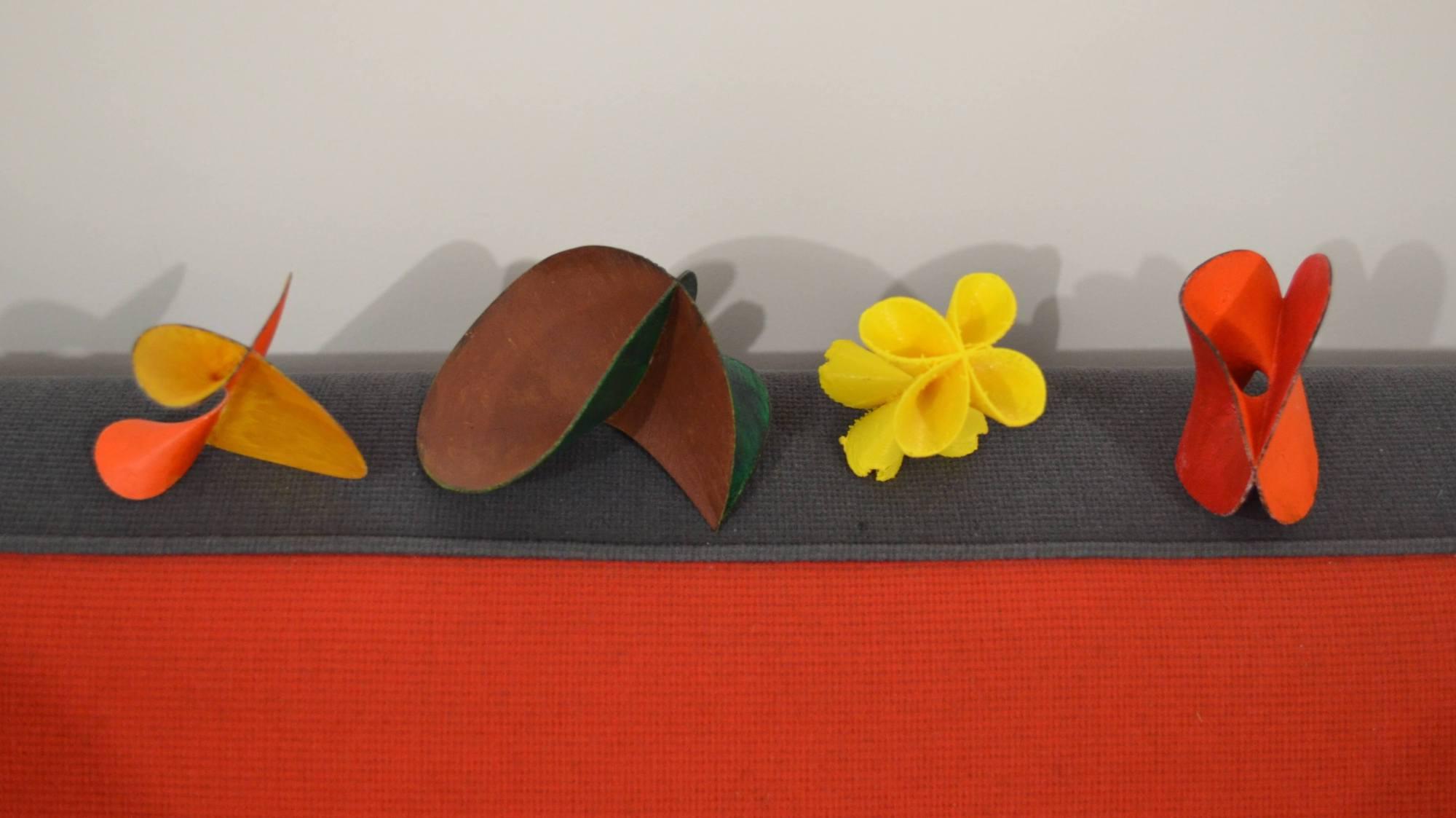 Photographie de quatre modèles de surfaces algébriques imprimées en 3D