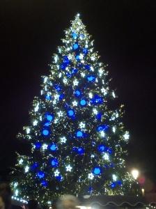 Énorme sapin de Noel, illuminé en bleu et blanc. Photo prise de nuit.