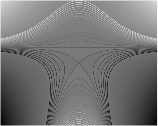 Lignes de niveau dessinées avec le logiciel Sage.