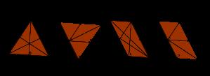 Représentations de chemins géodésiques entre un sommet du tetraèdre et les autres sommets